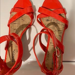 Shiny, flattering, coral wedge heel sandals